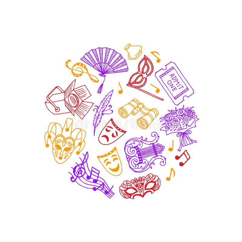 Vector doodle theatre elements in circle illustration royalty free illustration