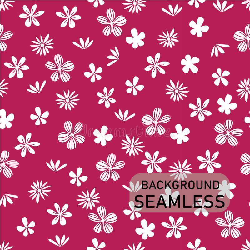 Vector doodle white flowers on bright pink background, vintage style, seamless background vector illustration