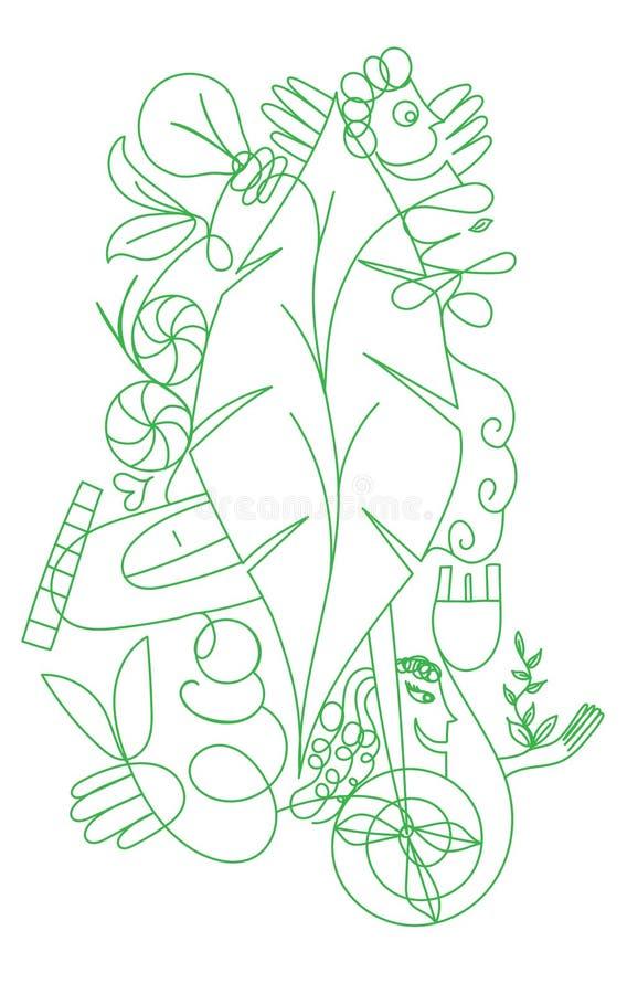 Vector doodlle ökologisches Konzept für grünes Leben und Welt stock abbildung