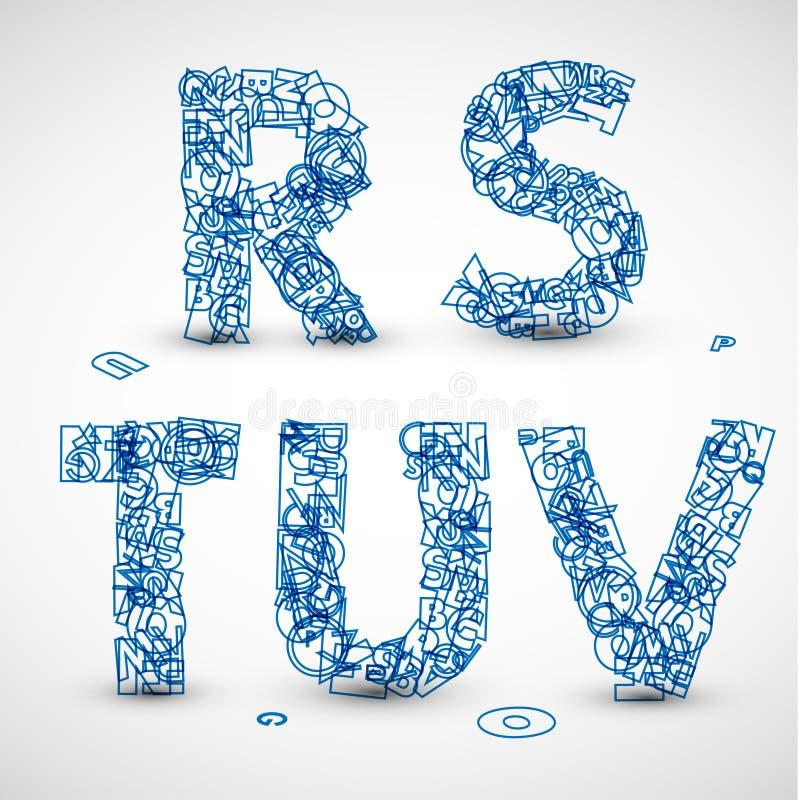 Vector doopvont die van blauwe brieven van het alfabet wordt gemaakt vector illustratie