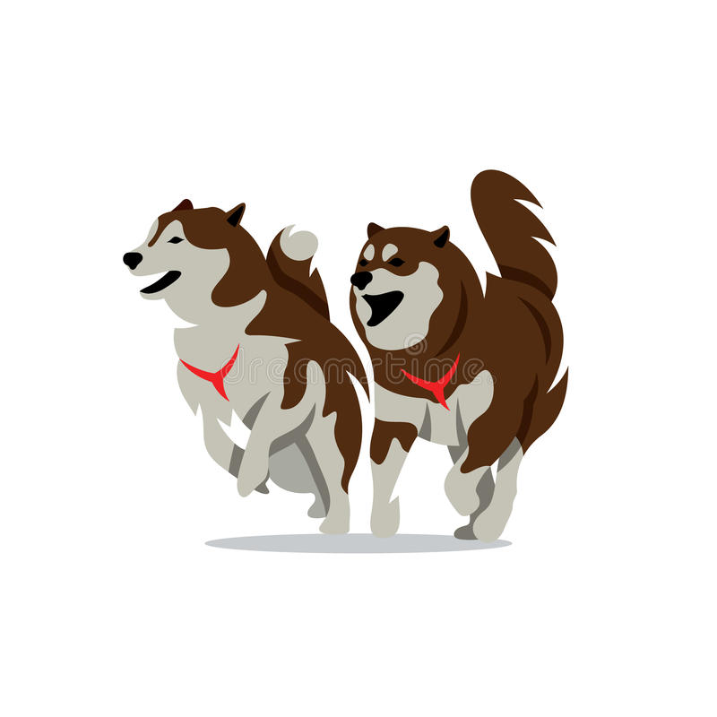 Vector dos Husky Dog Cartoon Illustration ilustración del vector