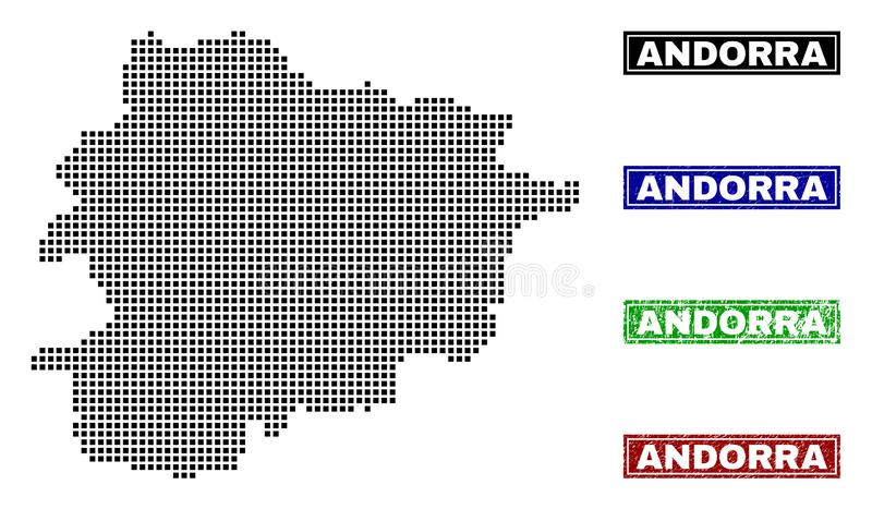 Andorra Map in Dot Style with Grunge Caption Stamps. Vector dot abstract Andorra map and isolated clean black, grunge red, blue, green stamp seals. Andorra map royalty free illustration