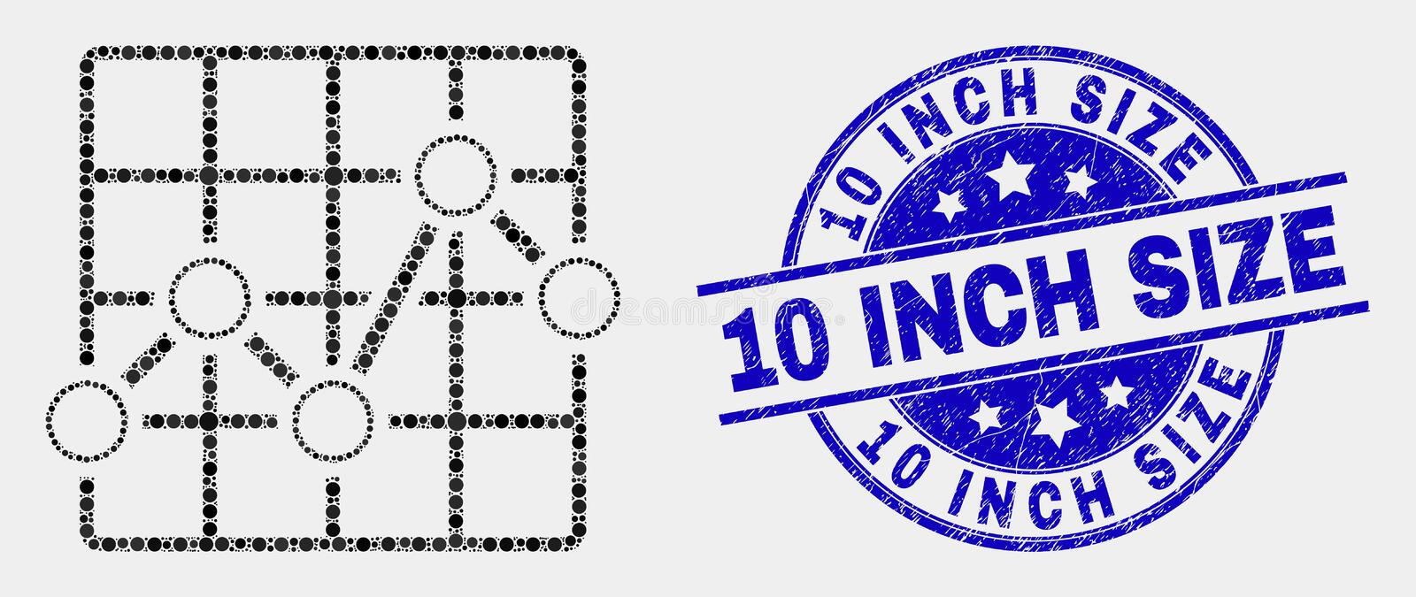 Vector Dot Chart Grid Icon and Scratched 10 Inch Size Stamp Seal. Dot chart grid mosaic icon and 10 Inch Size seal stamp. Blue vector rounded textured watermark vector illustration