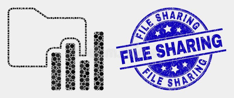 Vector Dot Charts Folder Icon and Distress File Sharing Seal vector illustration