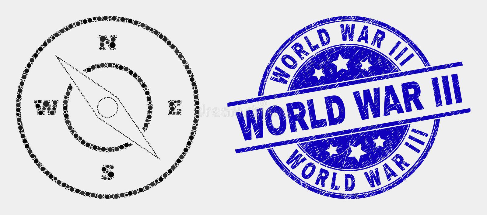 Vector Dot Compass Icon and Grunge World War Iii Stamp. Dot compass mosaic icon and World War Iii seal stamp. Blue vector round scratched seal with World War Iii royalty free illustration