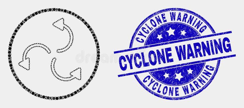 Vector Dot Cyclone Arrows Icon y filigrana de cuidado del ciclón de la desolación stock de ilustración