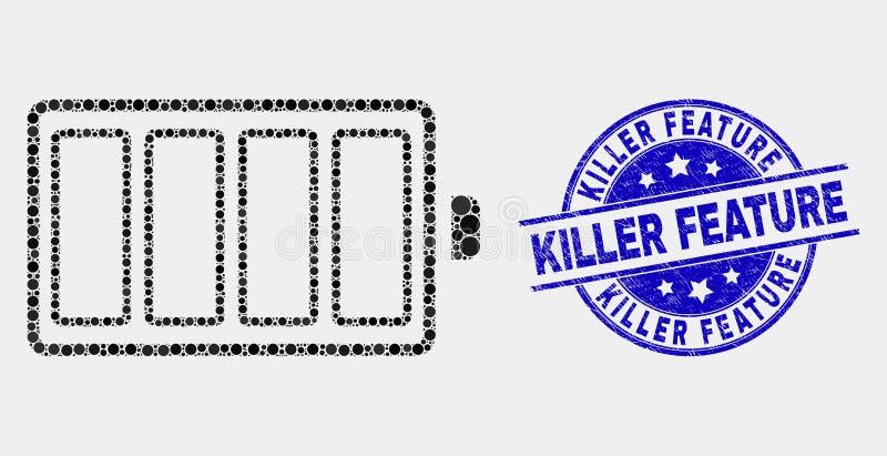 Vector Dot Electric Battery Icon y sello de la característica del asesino de la desolación stock de ilustración