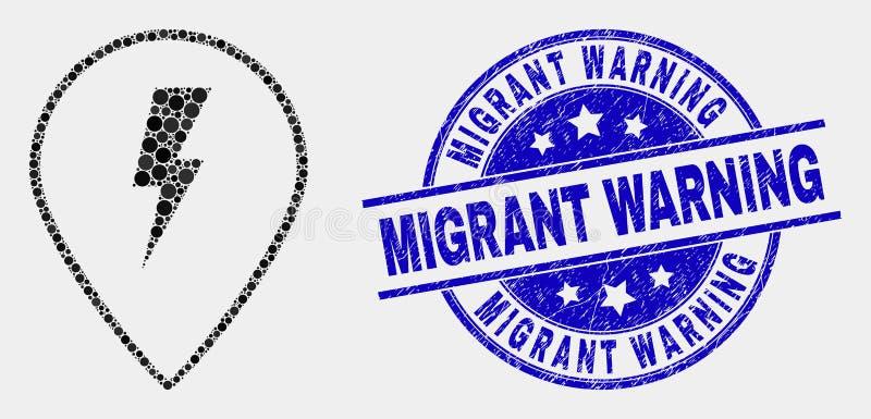 Vector Dot Electric Map Marker Icon y sello de cuidado migratorio de la desolación stock de ilustración