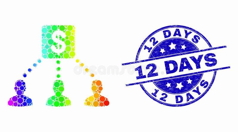 Vector Dot Financial Clients Links Icon espectral y Grunge sello de 12 días ilustración del vector