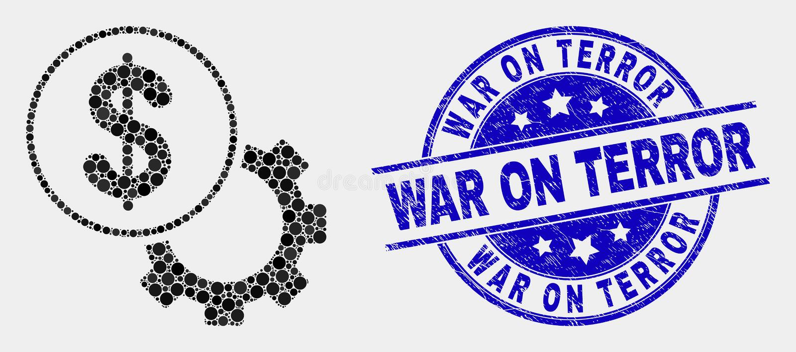 Vector Dot Financial Options Gear Icon and Distress War on Terror Seal. Pixelated financial options gear mosaic icon and War on Terror stamp. Blue vector rounded vector illustration