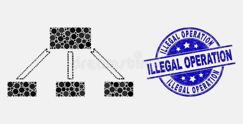 Vector Dot Hierarchy Links Icon and Grunge Illegal Operation Seal. Pixelated hierarchy links mosaic pictogram and Illegal Operation seal stamp. Blue vector round royalty free illustration