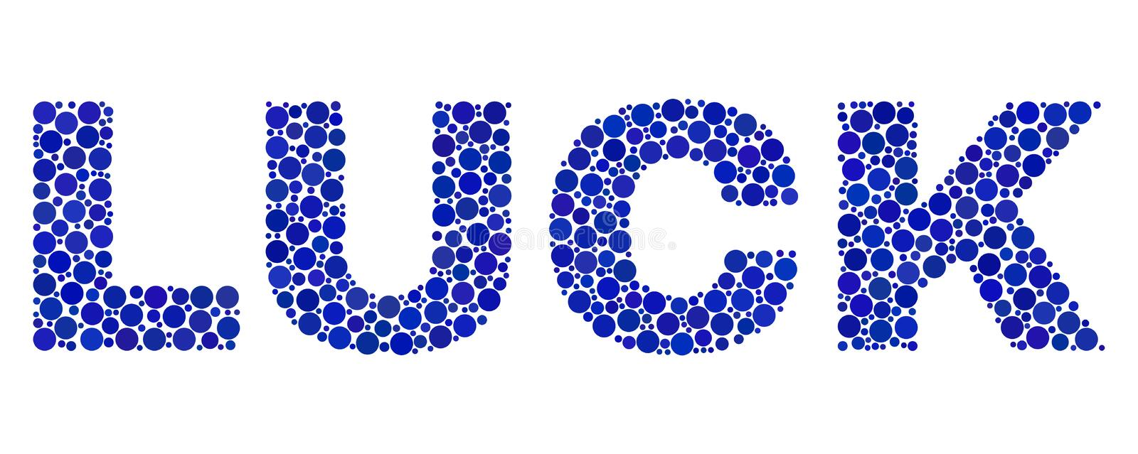 LUCK Text in Dot Style. Vector dot Luck text isolated on a white background. Luck mosaic caption of circle dots in various sizes stock illustration