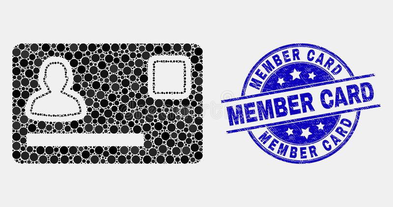 Vector Dot Personal Credit Card Icon and Scratched Member Card Stamp Seal stock illustration