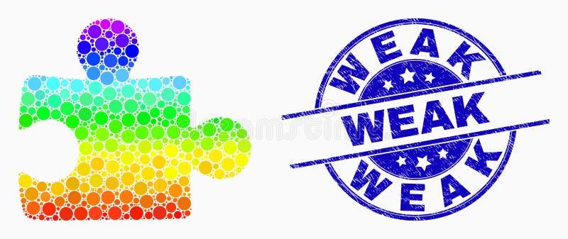 Vector Dot Puzzle Plugin Icon espectral y sello débil rasguñado ilustración del vector