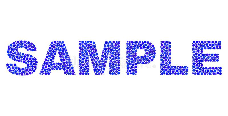 SAMPLE Text in Dot Style. Vector dot Sample text isolated on a white background. Sample mosaic caption of circle dots in various sizes vector illustration