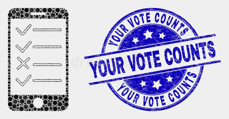 Vector Dot Smartphone Task List Icon and Grunge Your Vote Counts Stamp Seal. Pixelated smartphone task list mosaic pictogram and Your Vote Counts seal. Blue vector illustration