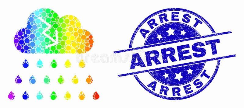 Vector Dot Storm Cloud Icon coloreado arco iris y sello rasguñado de la detención libre illustration