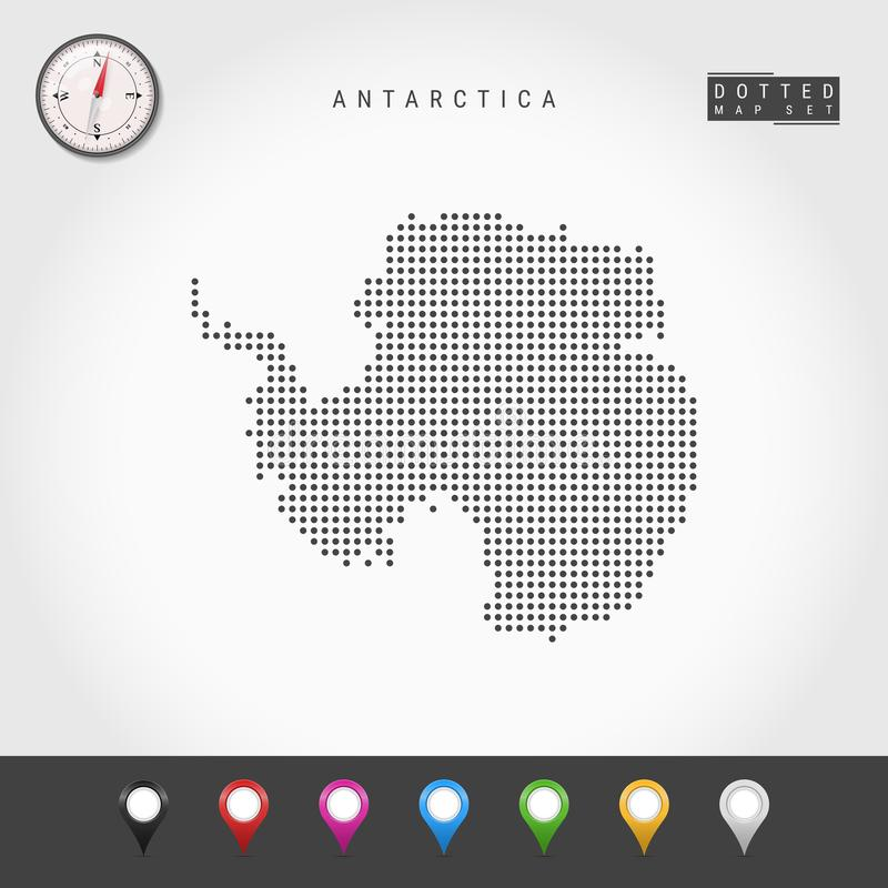 Vector Dots Map of Antarctica. Simple Silhouette of Antarctica. Realistic Vector Compass. Multicolored Map Pins vector illustration