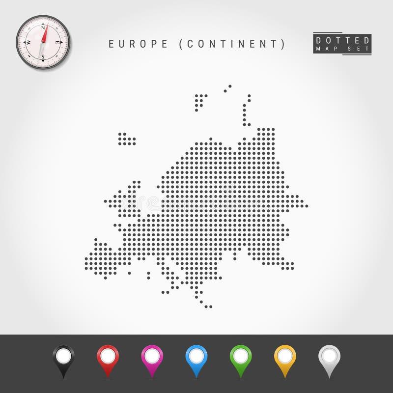 Vector Dots Map del continente europeo Silueta simple de Europa Comp?s realista del vector Pernos multicolores del mapa ilustración del vector