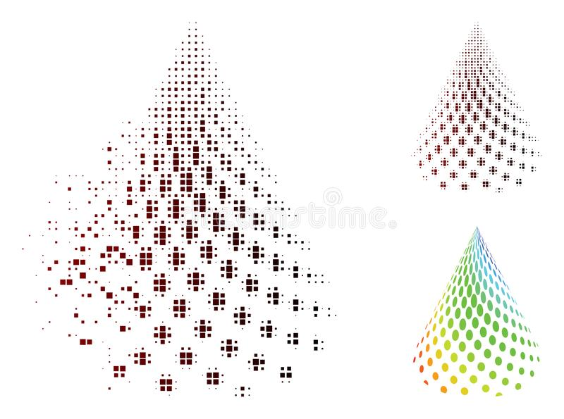 Decomposed Pixel Halftone Dotted Abstract Cone Icon stock illustration