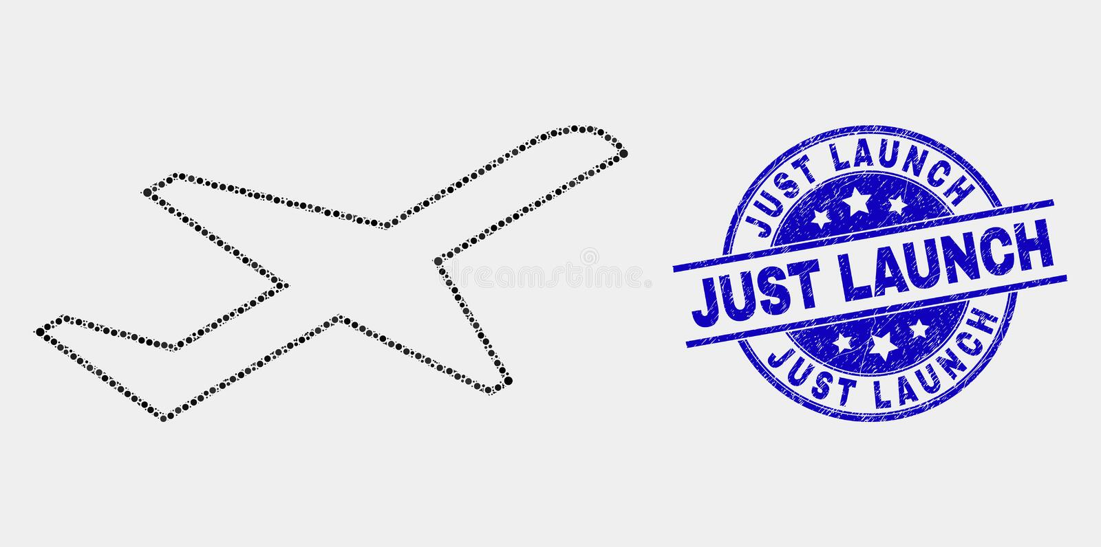 Vector Dotted Airplane Takeoff Icon and Scratched Just Launch Stamp Seal. Dot airplane takeoff mosaic pictogram and Just Launch seal stamp. Blue vector round vector illustration