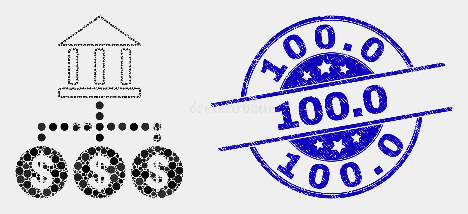 Vector Dotted Bank Hierarchy Icon and Distress 100.0 Seal stock illustration