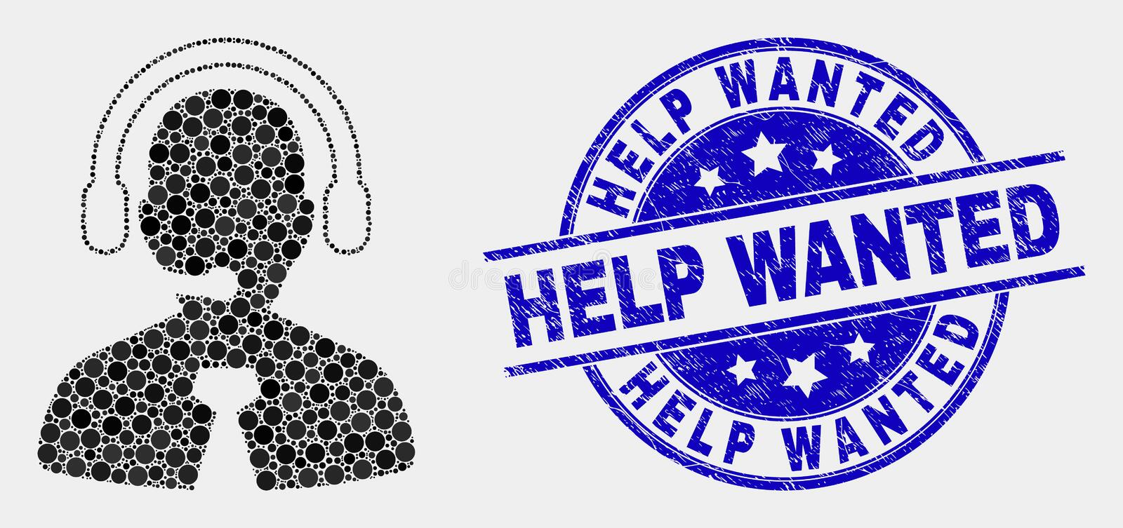 Vector Dotted Call Center Manager Icon and Distress Help Wanted Stamp Seal stock illustration