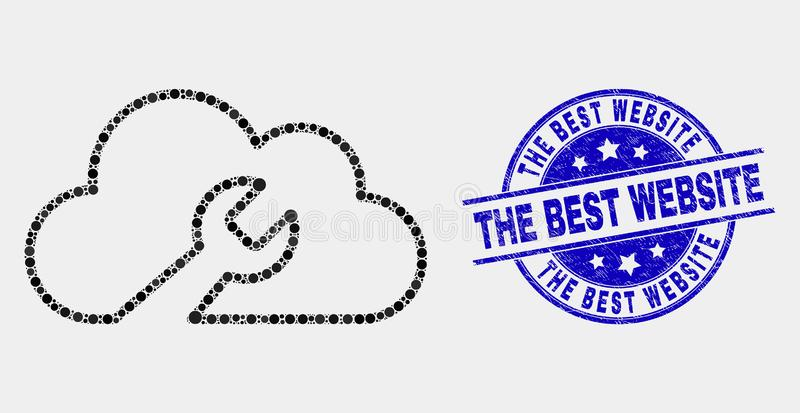 Vector Dotted Cloud Wrench Icon and Scratched The Best Website Seal vector illustration