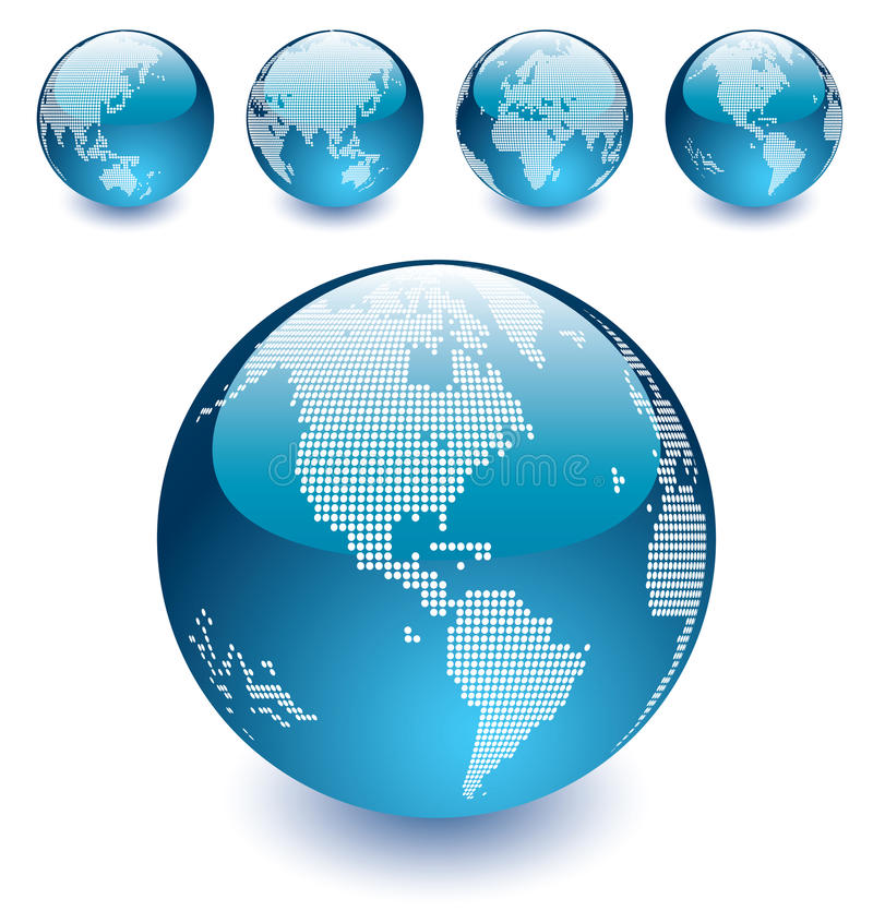 Free Vector Dotted Globes Of The World Stock Photo - 11013220