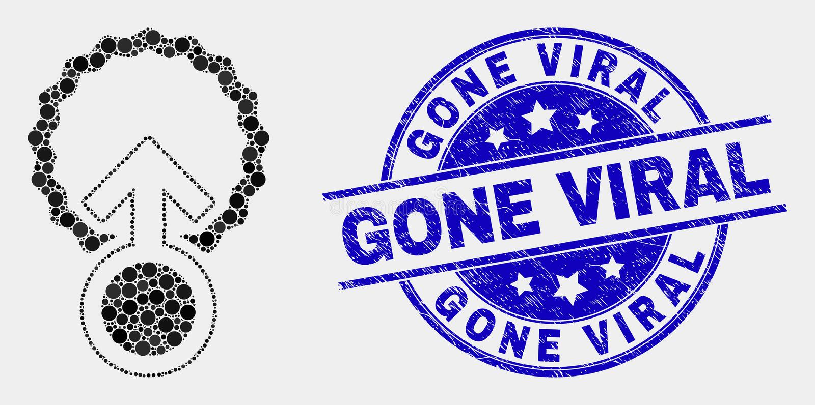 Vector Dotted Insemination Icon and Grunge Gone Viral Seal. Pixel insemination mosaic icon and Gone Viral seal stamp. Blue vector round textured watermark with stock illustration