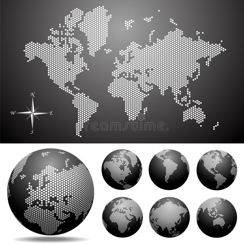 Vector dotted Map and Globe of the World royalty free illustration