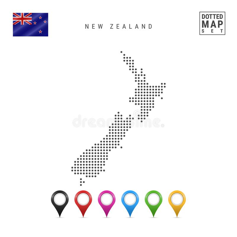 Vector Dotted Map of New Zealand. Simple Silhouette of New Zealand. Flag of New Zealand. Set of Multicolored Map Markers royalty free illustration