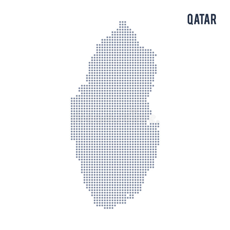 Vector Dotted Map Of Qatar Isolated On White Background Stock