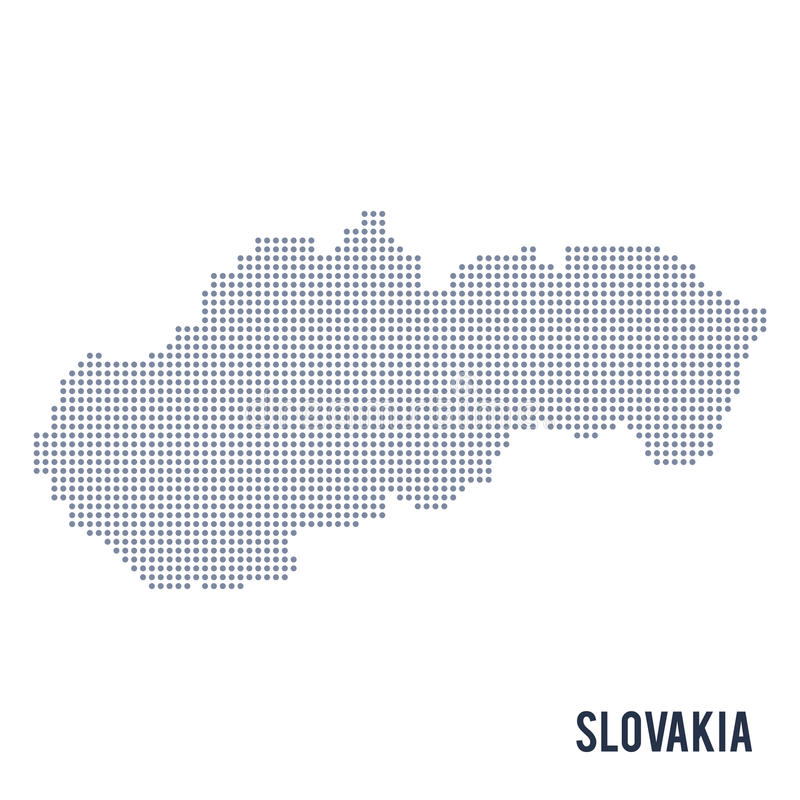 Vector dotted map of Slovakia isolated on white background . Travel vector illustration stock illustration