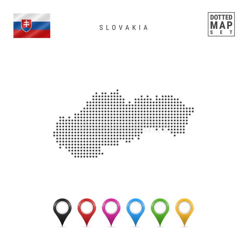 Vector Dotted Map of Slovakia. Simple Silhouette of Slovakia. National Flag of Slovakia. Set of Multicolored Map Markers. Dotted Map of Slovakia. Simple vector illustration