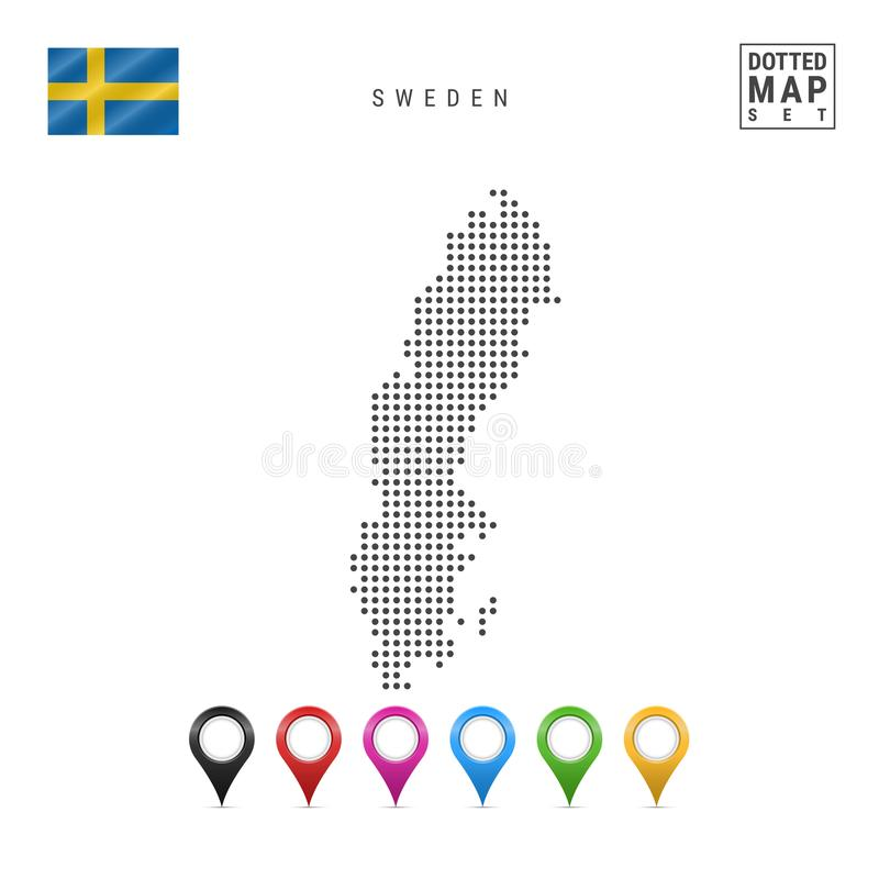 Vector Dotted Map of Sweden. Simple Silhouette of Sweden. The National Flag of Sweden. Set of Multicolored Map Markers stock illustration