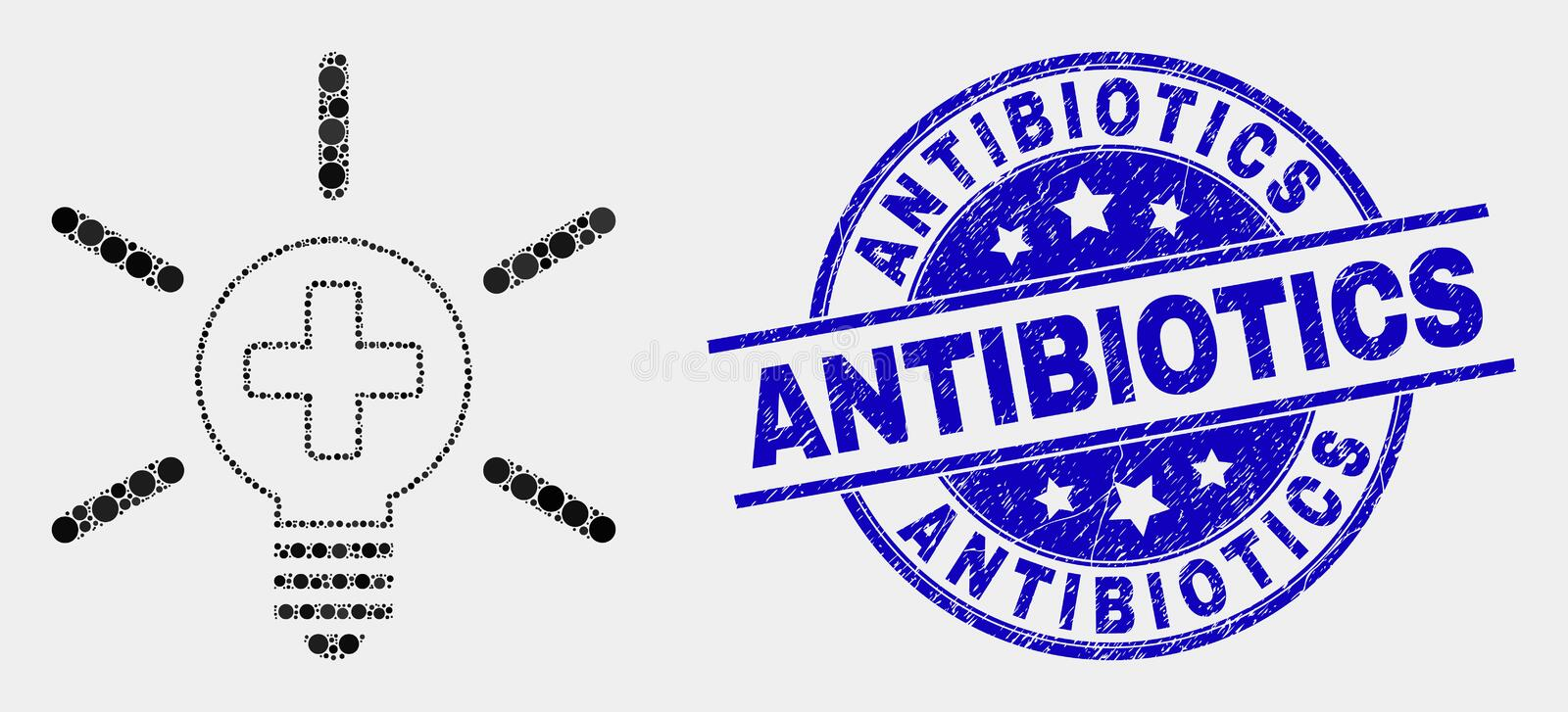 Vector Dotted Medical Lamp Light Icon and Scratched Antibiotics Stamp stock illustration