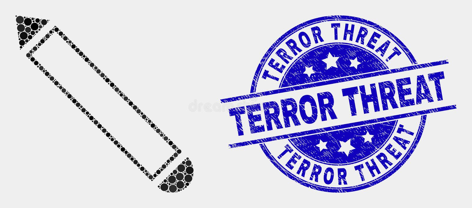 Vector Dotted Pencil Icon and Distress Terror Threat Seal. Pixel pencil mosaic pictogram and Terror Threat seal. Blue vector rounded scratched stamp with Terror vector illustration