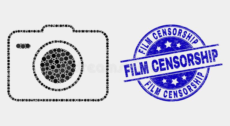 Vector Dotted Photo Camera Icon and Scratched Film Censorship Stamp. Pixel photo camera mosaic icon and Film Censorship stamp. Blue vector rounded grunge seal royalty free illustration