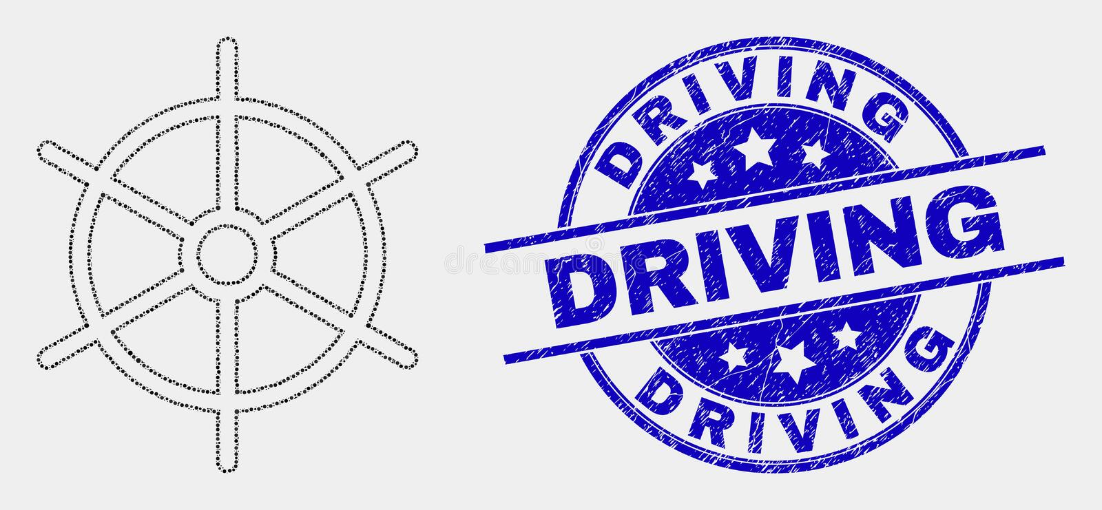 Vector Dotted Ship Rule Wheel Icon and Distress Driving Stamp. Pixelated ship rule wheel mosaic pictogram and Driving seal stamp. Blue vector rounded grunge royalty free illustration