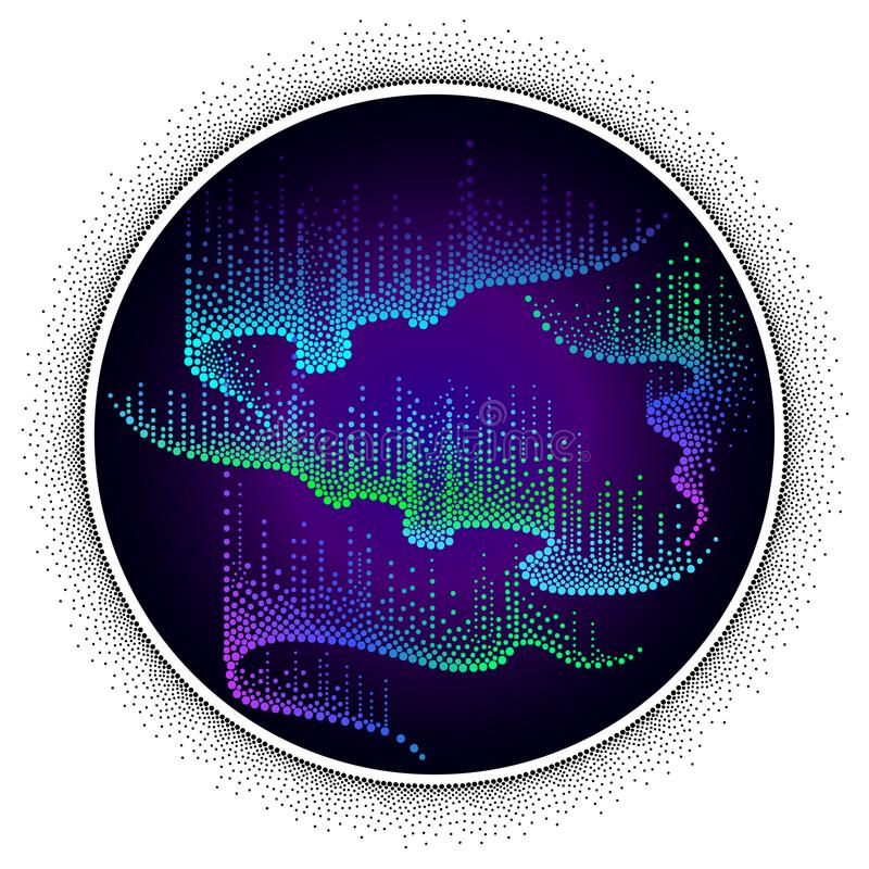 Vector dotted swirls of color northern or polar light on the Polar sky. Round composition with Aurora borealis lights in dotwork. royalty free illustration