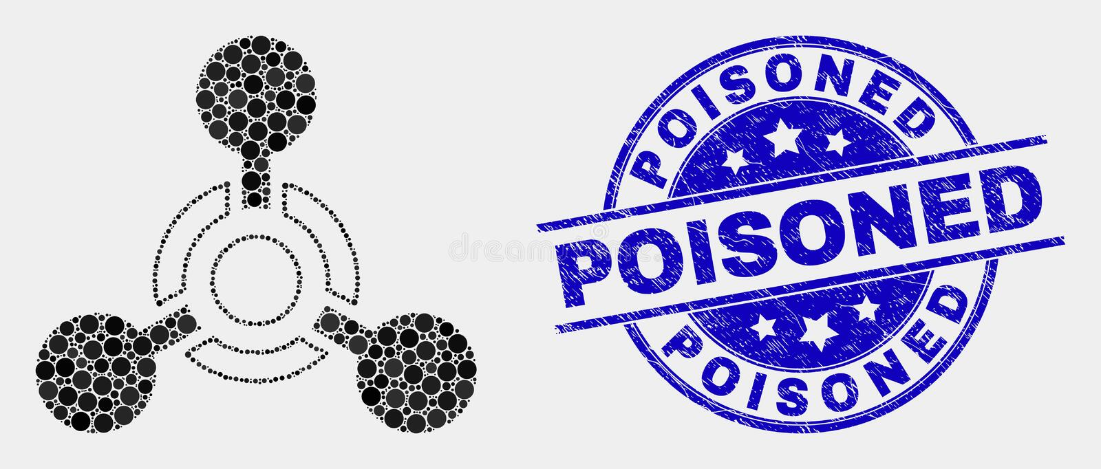 Vector Dotted Toxic Nerve Agent Icon and Grunge Poisoned Seal. Pixelated toxic Nerve agent mosaic pictogram and Poisoned stamp. Blue vector rounded distress seal stock illustration