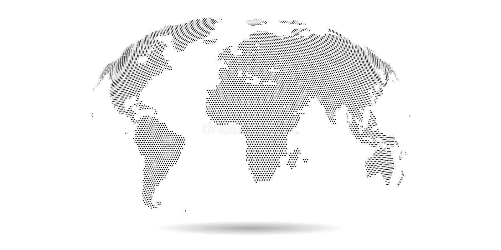 Vector dotted world map. Grey halftone color. 3d graphic background. Vector dotted world map. Grey halftone color. 3d graphic background for business projects stock illustration
