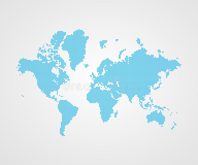 Vector dotted world map infographic symbol. International illustration sign. Blue template element for business, presentation royalty free illustration