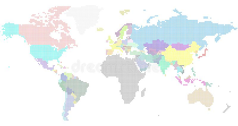 Vector Dotted World Map. A political map of the World. royalty free stock photo
