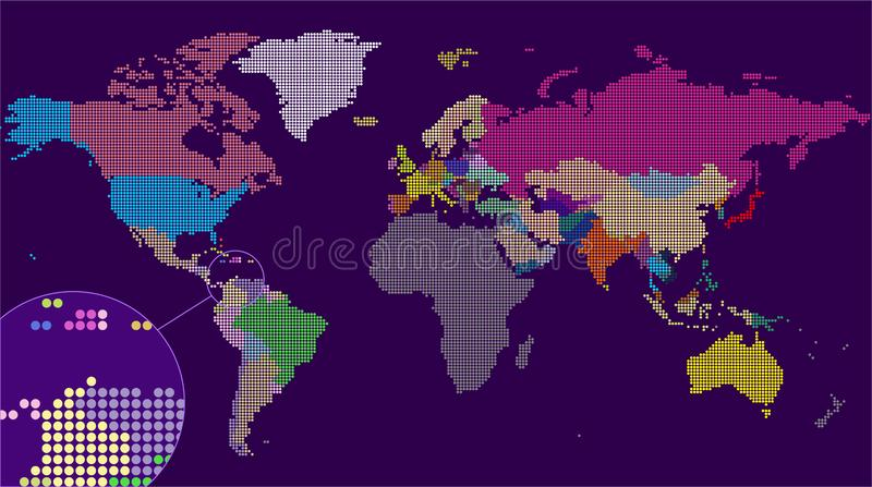 Vector Dotted World Map. A political map of the World. stock photo