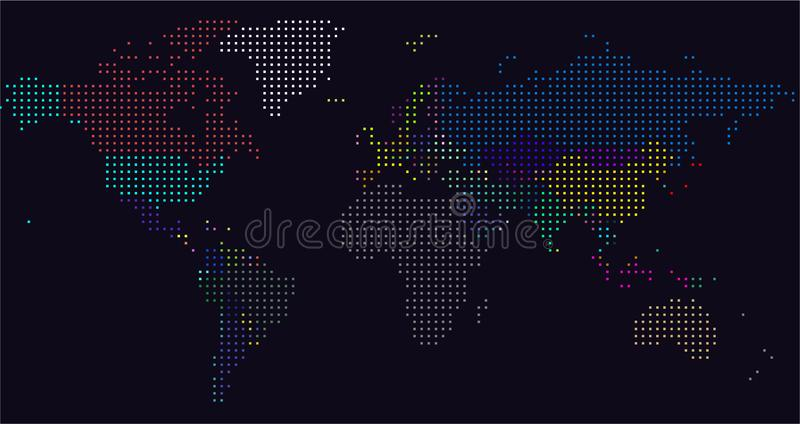 Vector Dotted World Map. A political map of the World. royalty free illustration