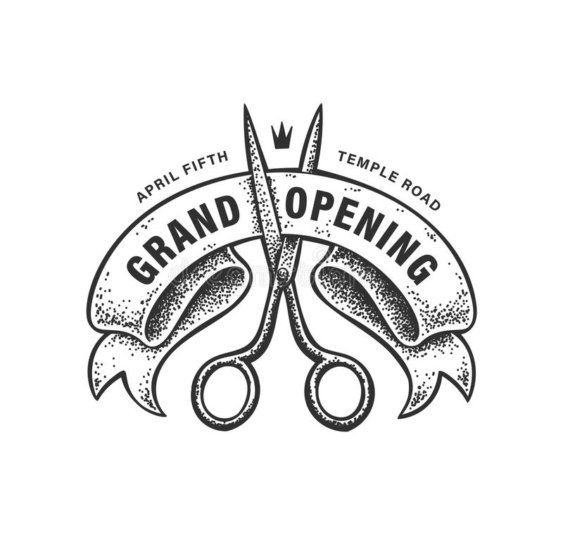 Grand Opening Sign. Vector dotwork sign with scissors cutting a ribbon. Vintage badge for grand opening promotion. Old style graphics royalty free illustration