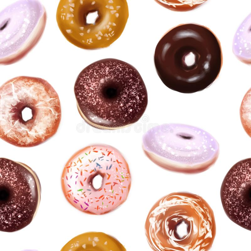 Vector doughnuts on white background stock photo