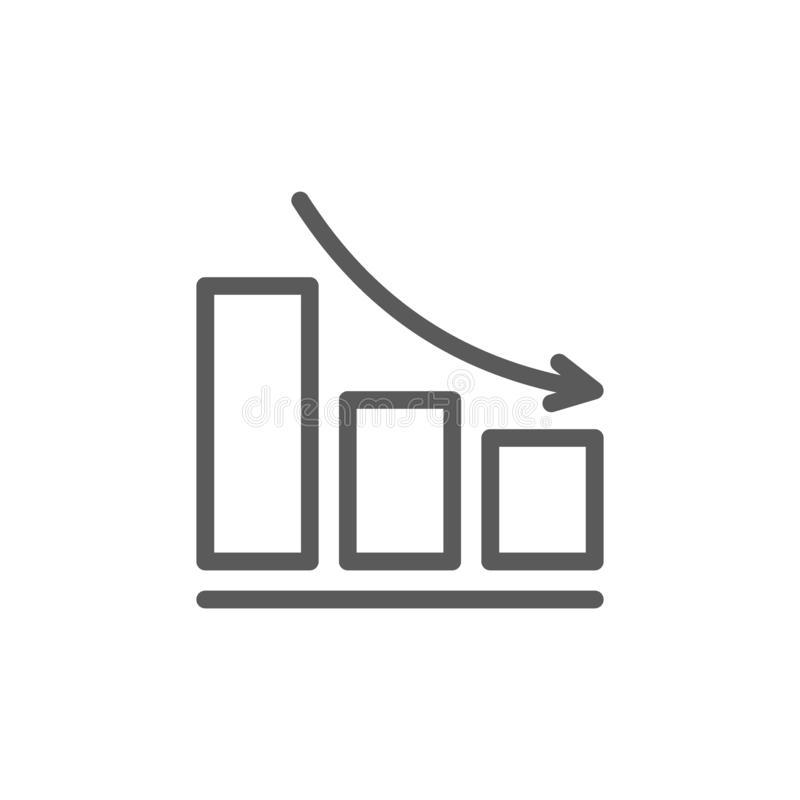 Down schedule line icon. stock illustration